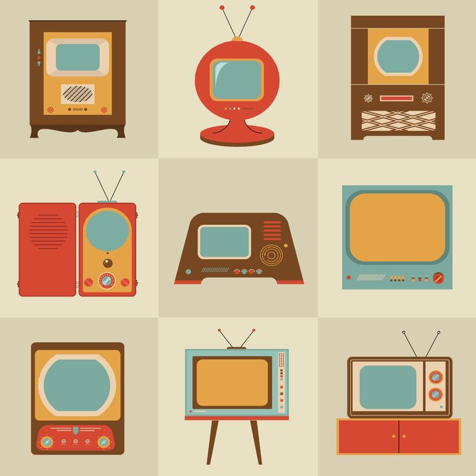21660823 - retro vintage stylish tv set icons